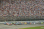 June 14 2009:  Jimmie Johnson and Greg Biffle lead the field during the LifeLock 400 at Michigan International Speedway in Brooklyn, MIchigan.