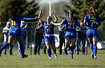BROOKINGS, SD, OCTOBER 21: Bianca Madonia #24 from South Dakota State celebrates her goal with teammates against Oral Roberts during their match Sunday afternoon at Fischback Soccer Field in Brookings. (Dave Eggen/Inertia)