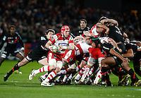 Photo: Richard Lane/Richard Lane Photography. Gloucester Rugby v Stade Toulouse. Heineken Cup. 20/01/2012. Gloucester's Luke Narraway breaks from a scrum.