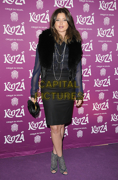 "Holly Candy (nee Valance).VIP Night for Cirque du Soleil's new production, ""Kooza"" at the Royal Albert Hall, London, England..January 8th 2013.full length jacket fur blue black dress bag purse  open toe ankle boots.CAP/CJ.©Chris Joseph/Capital Pictures."