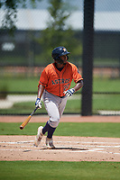 GCL Astros Yorbin Ceuta (22) bats during a Gulf Coast League game against the GCL Nationals on August 9, 2019 at FITTEAM Ballpark of the Palm Beaches training complex in Palm Beach, Florida.  GCL Nationals defeated the GCL Astros 8-2.  (Mike Janes/Four Seam Images)