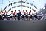 Lotto-Soudal on stage at sign on before the 2019 Gent-Wevelgem in Flanders Fields running 252km from Deinze to Wevelgem, Belgium. 31st March 2019.<br /> Picture: Eoin Clarke | Cyclefile<br /> <br /> All photos usage must carry mandatory copyright credit (© Cyclefile | Eoin Clarke)
