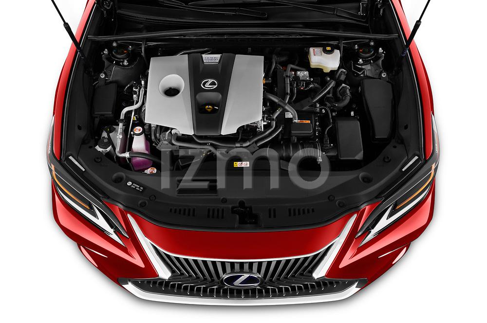 Car stock 2020 Lexus ES 300h 4 Door Sedan engine high angle detail view