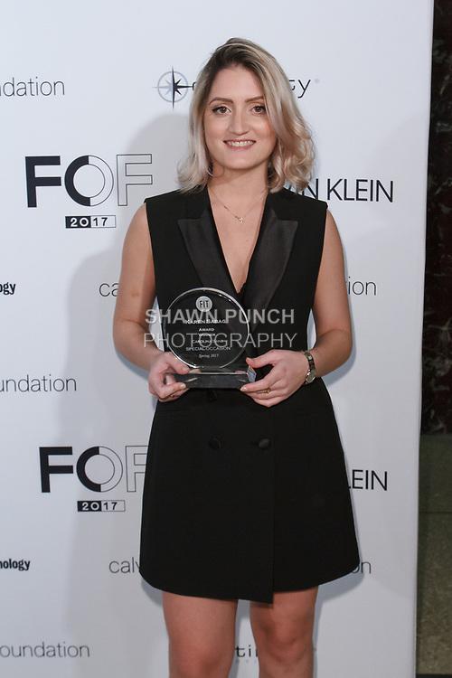Graduating student Carolina Sanz, won the Karen Sabag Critic Award, during the Future of Fashion 2017 runway show at the Fashion Institute of Technology on May 8, 2017.