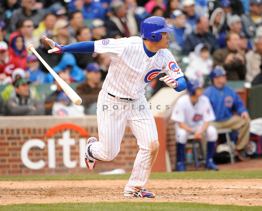 KOSUKE FUKUDOME, of the Chicago Cubs, in action during the Cubs game against the Cincinnati Reds, on May 7, 2011 at Wrigley Field in Chicago, IL.  The Cubs beat the Reds 3-2.