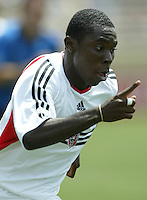 Freddie Adu in action in an MLS match between the San Jose Earthquakes and DC United on May 1, 2004 at Spartan Stadium in San Jose, California.