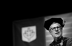 The Rev. Dennis H. Holtschneider, C.M., president of DePaul, offers remarks at the DePaul University College of Law commencement ceremony, Sunday, May 14, 2017, at the Rosemont Theatre in Rosemont, IL, where some 240 students received their Juris Doctors or Master of Laws degrees. (DePaul University/Jeff Carrion)
