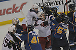 A fight in front of the Blues goal with players from both sides involved breaks out late in the second period during a game between the Columbus Blue Jackets and the St. Louis Blues on Friday April 5, 2013 at the Scottrade Center in downtown St. Louis.