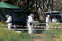 2017 03 18 UK forensics officers at the area where Steven Cook remains were found,Malia,Crete,Greece