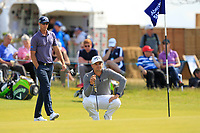 Nicolas Colsaerts (BEL) and Haydn Porteous (RSA) on the 5th green during Round 1 of the Aberdeen Standard Investments Scottish Open 2019 at The Renaissance Club, North Berwick, Scotland on Thursday 11th July 2019.<br /> Picture:  Thos Caffrey / Golffile<br /> <br /> All photos usage must carry mandatory copyright credit (© Golffile | Thos Caffrey)