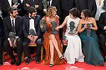 Alberto Rodriguez, Manolo Solo, Emma Suarez, Anna Castillo and Beatriz Bodegas talking before the photo family for the media at Madrid Marriott Auditorium Hotel in Madrid, Spain. February 04, 2017. (ALTERPHOTOS/BorjaB.Hojas)