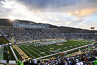 01 November 08: Sonny Lubick Field at Hughes Stadium seen during a halftime performance of the Colorado State marching band. The Brigham Young University Cougars defeated the Colorado State Rams 45-42 at Sonny Lubick Field at Hughes Stadium in Fort Collins, Colorado.