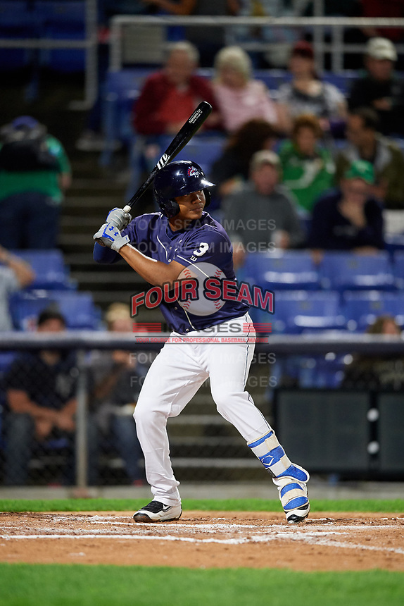 Binghamton Rumble Ponies second baseman Oliver Pascual (3) at bat during a game against the Portland Sea Dogs on August 31, 2018 at NYSEG Stadium in Binghamton, New York.  Portland defeated Binghamton 4-1.  (Mike Janes/Four Seam Images)