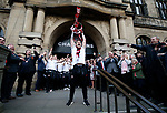 Billy Sharp of Sheffield Utd outside the town hall during the open top bus parade from Bramall Lane Stadium to Sheffield Town Hall, Sheffield. Picture date: May 2nd 2017. Pic credit should read: Simon Bellis/Sportimage