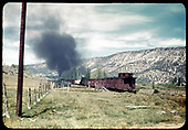 RGS #455 and leased D&amp;RGW #452 with a southbound freight at road crossing just west of Ridgway at Jay.<br /> RGS  Jay, CO  Taken by Maxwell, John W. - 9/5/1950