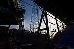 Portsmouth fans queuing for drinks under a floodlight pylon at half time. Oldham v Portsmouth League 1