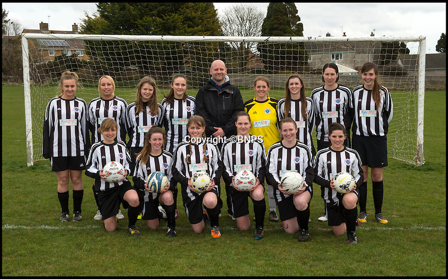 BNPS.co.uk (01202 558833)<br /> Pic: PhilYeomans/BNPS<br /> <br /> Becky (centre front) is captain of the Dorchester ladies team - partner Darren is the boss.<br /> <br /> Forget Vardy, Kane and Aguero  - Dorset goal machine Becky Narramore has got more goals than all of them put together this season...<br /> <br /> There's a new fox in the box in the shape of super striker Becky Narramore who has scored a staggering 80 goals in just 11 games this season.<br /> <br /> Becky, 27, has taken the Dorset Women's League by storm this season and has averaged an impressive 7.2 goals a game. <br /> <br /> She has netted more times than Premier League stars Vardy, Harry Kane and Sergio Aguero combined.