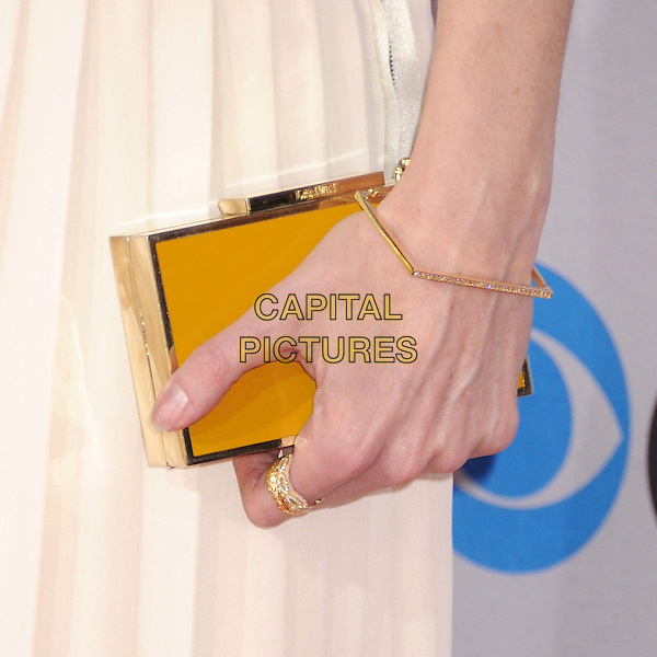 Ellen Pompeo's bag.People's Choice Awards 2013 - Arrivals held at Nokia Theatre L.A. Live, Los Angeles, California, USA..January 9th, 2013.detail hand square geometric bracelet jewellery jewelry ring white gold clutch bag.CAP/ADM/BP.©Byron Purvis/AdMedia/Capital Pictures.