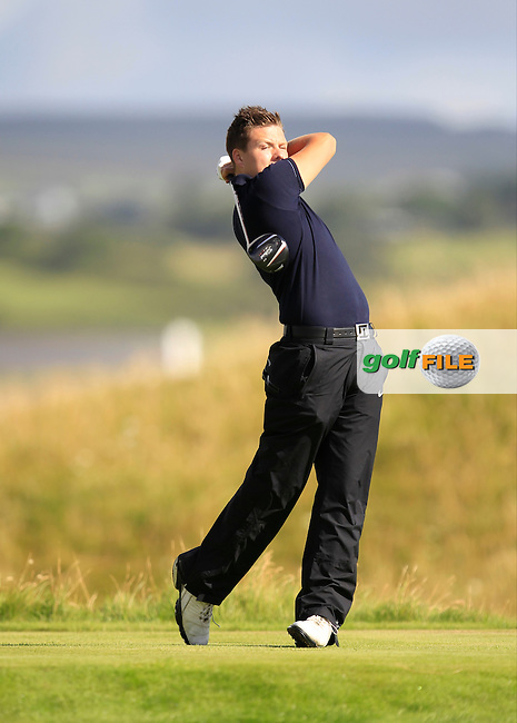 Dean MacMahon (Castletroy) on the 14th tee during the South of Ireland Amateur Open Championship Second Round at Lehinch Golf Club  28th July 2013 <br /> Picture:  Thos Caffrey / www.golffile.ie