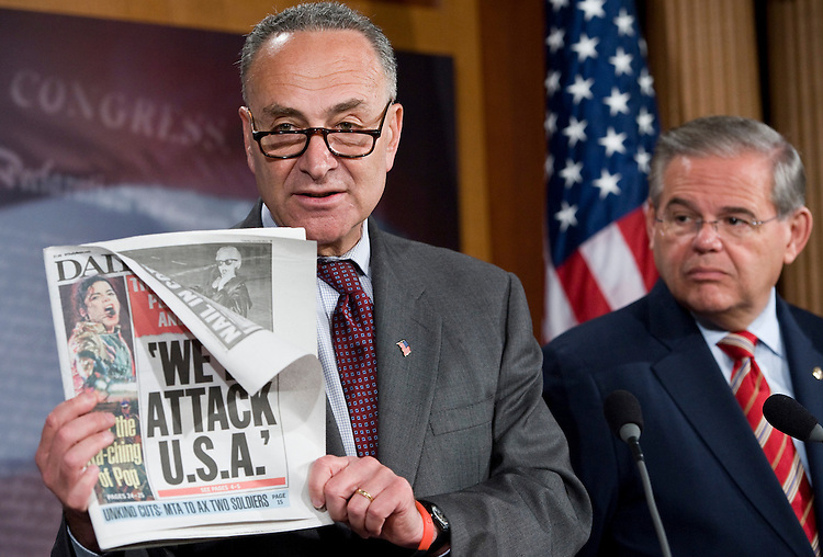 From left, Sen. Charles Schumer, D-N.Y., and Sen. Robert Menendez, D-N.J., hold a news conference on the Times Square bomber on Tuesday, June 22, 2010.