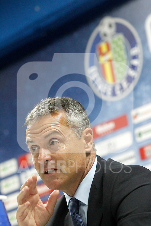 Getafe's coach Fran Escriba in press conference after La Liga match.September 18,2015. (ALTERPHOTOS/Acero)