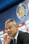 Getafe's coach Fran Escriba in press conference after La Liga match.September 18,2015. (ALTERPHOTOS/Acero)