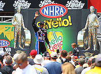 Jun 21, 2015; Bristol, TN, USA; NHRA top fuel driver Antron Brown during the Thunder Valley Nationals at Bristol Dragway. Mandatory Credit: Mark J. Rebilas-