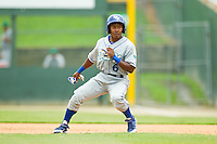 Terrance Gore (6) of the Lexington Legends fakes stealing second base during the South Atlantic League game against the Kannapolis Intimidators at CMC-Northeast Stadium on July 31, 2013 in Kannapolis, North Carolina.  The Intimidators defeated the Legends 3-2.  (Brian Westerholt/Four Seam Images)