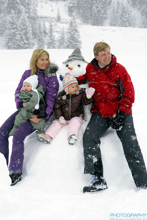 Crown Prince Willem-Alexander & Crown Princess Maxima of Holland, with daughters Princess Catharina-Amalia & Princess Alexia, pose for photographs at the start of their annual skiing holiday in Lech Austria..Picture: UK Press
