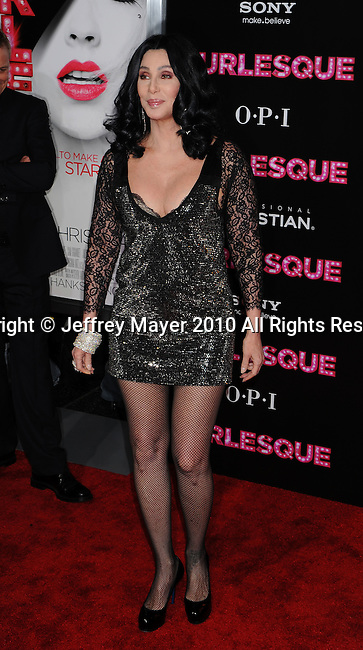 """HOLLYWOOD, CA. - November 15: Cher arrives at the Los Angeles """"Burlesque"""" Premiere at Grauman's Chinese Theatre on November 15, 2010 in Hollywood, California."""