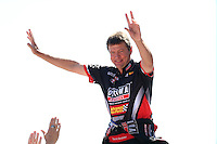 Jul. 21, 2013; Morrison, CO, USA: NHRA top fuel dragster driver David Grubnic during the Mile High Nationals at Bandimere Speedway. Mandatory Credit: Mark J. Rebilas-