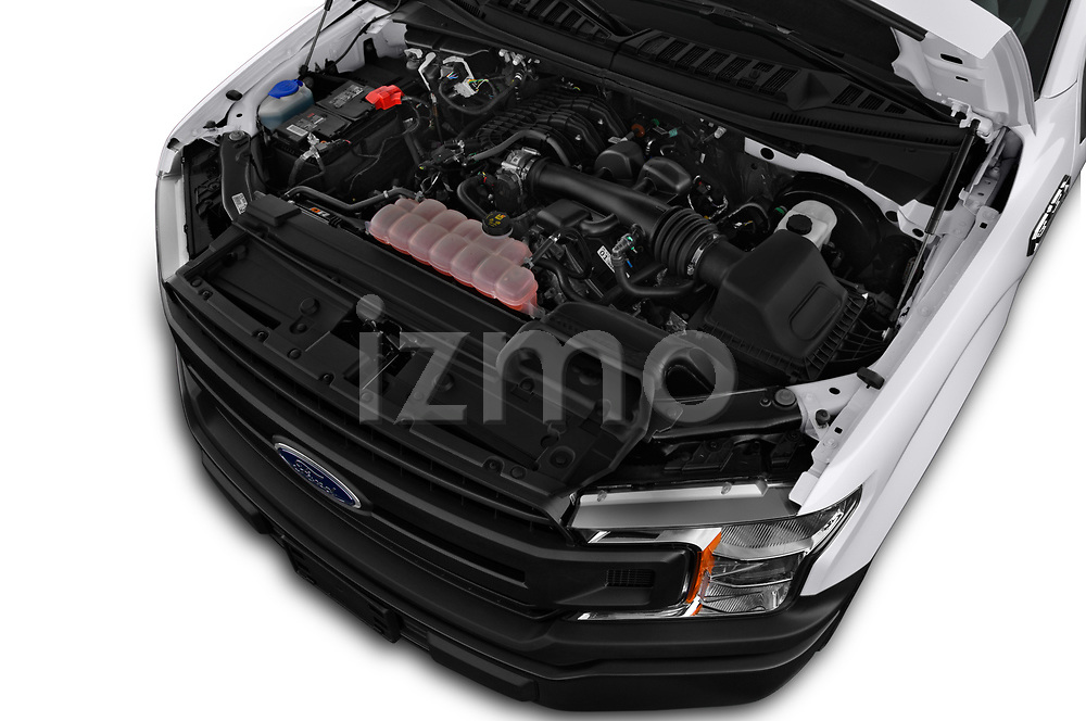 Car stock 2018 Ford F-150 XLT 4 Door Pick Up engine high angle detail view