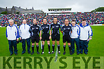 Referee Maurice Deegan with his officials at the Munster Final at Fitzgerald Stadium, Killarney on Saturday evening.