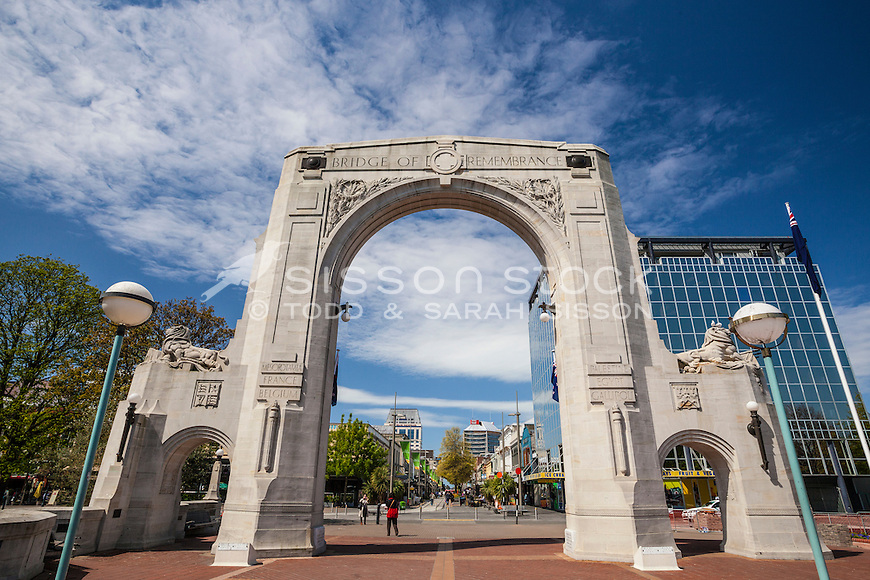 Bridge of Remembrance, Christchurch, New Zealand (pre February 2011 earthquake) - stock photo, canvas, fine art print