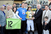 Hansen (no. 12), ridden by Ramon Dominguez and trained by Michael Maker, wins the  60th running of the grade 3 Gotham Stakes for three year olds on March 03, 2012 at Aqueduct Race Track in Ozone Park, New York.  (Bob Mayberger/Eclipse Sportswire)
