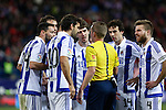 Real Sociedad´s Asier Illarramendi, Elustondo, Xabi Prieto, Hector Hernandez argue with the referee during 2015-16 La Liga match between Atletico de Madrid and Real Sociedad at Vicente Calderon stadium in Madrid, Spain. March 01, 2016. (ALTERPHOTOS/Victor Blanco)