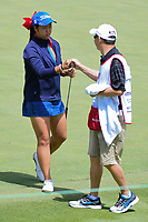 Anne Chen (AUS) fist bumps with her caddie after sinking her putt on 12 during round 1 of  the Volunteers of America Texas Shootout Presented by JTBC, at the Las Colinas Country Club in Irving, Texas, USA. 4/27/2017.<br /> Picture: Golffile | Ken Murray<br /> <br /> <br /> All photo usage must carry mandatory copyright credit (&copy; Golffile | Ken Murray)