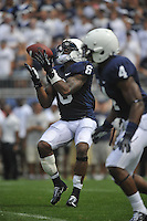 01 September 2012:  Penn State LB Gerald Hodges (6) fields a punt and fumbles it which resulted in a turnover. The Ohio Bobcats defeated the Penn State Nittany Lions 24-14 at Beaver Stadium in State College, PA..