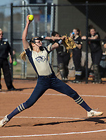 NWA Democrat-Gazette/BEN GOFF @NWABENGOFF<br /> Emma Wood pitches for Bentonville West Tuesday, April 10, 2018, during the game against Bentonville at Bentonville West's Wolverine Athletic Complex in Centerton.