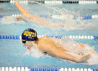 Council Rock South's Josh Belder competes in the butterfly during the Boys 200 Yard Individual Medley against Council Rock North during a swim meet Friday January 29, 2016 at Council Rock North in Newtown, Pennsylvania. (Photo by William Thomas Cain)