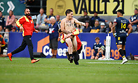 A streaker runs onto the pitch during the Super Rugby match between the Pulse Energy Highlanders and the Cell C Sharks at the Forsyth Barr Stadium in Dunedin, New Zealand on Friday, 7 February 2020. Photo Steve Haag / stevehaagsports.com
