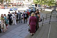 Bride and Groom at a Registry office wedding, Marylebone London.