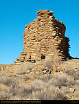 Tower, Una Vida Chacoan Great House, Anasazi Hisatsinom Ancestral Pueblo Site, Chaco Culture National Historical Park, Chaco Canyon, Nageezi, New Mexico