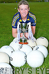 Savanagh McCarthy Listowel  Emmets Lady GAA the  under 14 Capt of the Kerry Ladies under 14 team with the under 14 Cup on Wednesday night at the North Campus ITT Training grounds.............