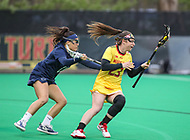 College Park, MD - April 19, 2018: Maryland Terrapins Megan Whittle (23) gets pushed by a Penn State Nittany Lions defender during game between Penn St. and Maryland at  Field Hockey and Lacrosse Complex in College Park, MD.  (Photo by Elliott Brown/Media Images International)