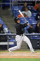 Akron RubberDucks center fielder Todd Hankins (8) at bat during a game against the Binghamton Rumble Ponies on May 12, 2017 at NYSEG Stadium in Binghamton, New York.  Akron defeated Binghamton 5-1.  (Mike Janes/Four Seam Images)