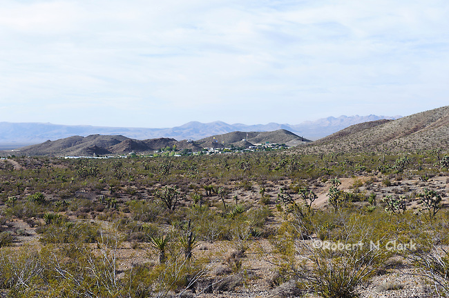 View of Searchlight Nevada from the heights south of town