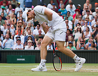 Andy Murray (1) of Great Britain holding his hip during his defeat by Sam Querrey (24) of United States in their Men&rsquo;s Singles Quarter Final Match today - Querrey def Murray 3-6, 6-4, 6-7, 6-1, 6-1<br /> <br /> Photographer Ashley Western/CameraSport<br /> <br /> Wimbledon Lawn Tennis Championships - Day 9 - Wednesday 12th July 2017 -  All England Lawn Tennis and Croquet Club - Wimbledon - London - England<br /> <br /> World Copyright &copy; 2017 CameraSport. All rights reserved. 43 Linden Ave. Countesthorpe. Leicester. England. LE8 5PG - Tel: +44 (0) 116 277 4147 - admin@camerasport.com - www.camerasport.com