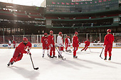 Bobo Carpenter (BU - 14), Patrick Curry (BU - 11), Jakob Forsbacka Karlsson (BU - 23) - The Boston University Terriers practiced on the rink at Fenway Park on Friday, January 6, 2017.The Boston University Terriers practiced on the rink at Fenway Park on Friday, January 6, 2017.