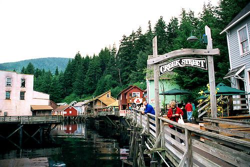 Ketchikan - Creek Street, Alaska, Shopping At The Former Brothel Houses Now Shops